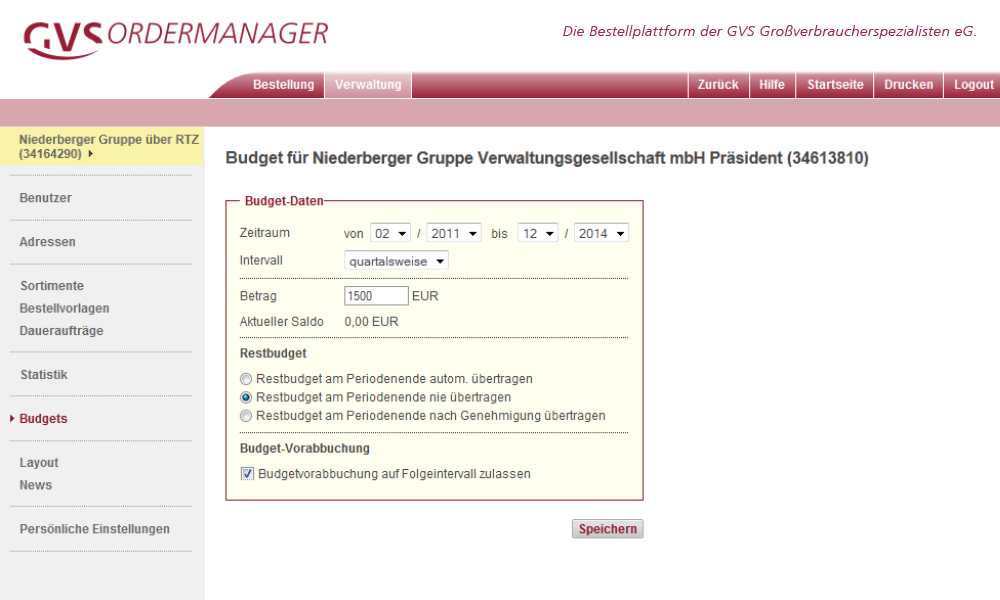 Ordermanager Budgetverwaltung