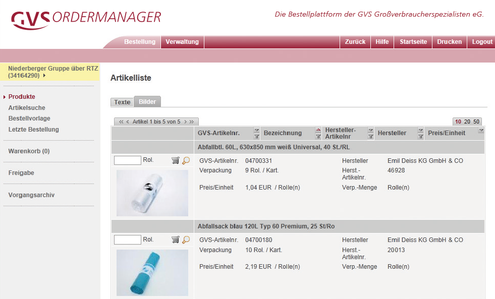 Ordermanager Produktebene